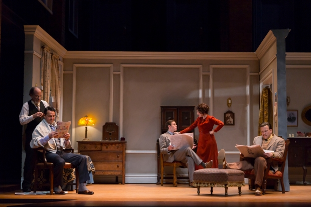 Will LeBow, Stephen Schnetzer, Michael Goldsmith, Lori Wilner, and Eric T. Miller in Clifford Odets' stirring American classic AWAKE AND SING!, directed by Melia Bensussen, playing November 7 – December 7, 2014 at the BU Theatre / Avenue of the Arts. Photo: T. Charles Erickson