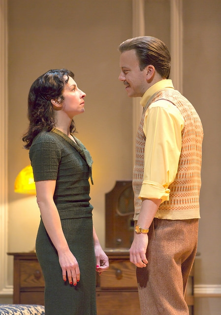 Annie Purcell and Eric T. Miller in Clifford Odets' stirring American classic AWAKE AND SING!, directed by Melia Bensussen, playing November 7 – December 7, 2014 at the BU Theatre / Avenue of the Arts. Photo: T. Charles Erickson