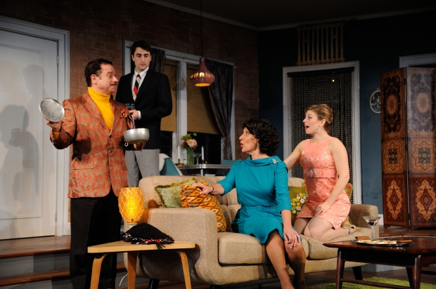 Stephen Berenson as Victor Velasco, Charlie Thurston as Paul, Phyllis Kay as Mrs. Banks and Rebecca Gibel as Corie in Neil Simon's Barefoot in the Park at Trinity Rep.  Photo Mark Turek.