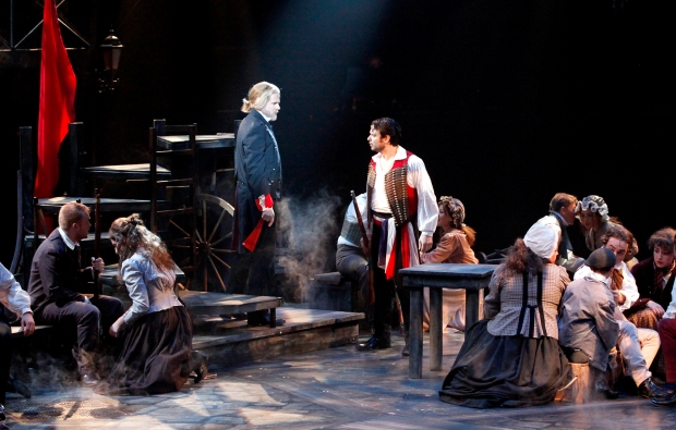 Will Ray (Jean Valjean), Steve Czarnecki (Enjolras), and the company of North shore Music Theatre's production of LES MISÉRABLES playing October 28 thru November 16. Photo by Paul Lyden