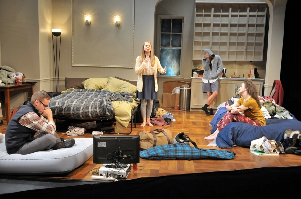 """Melody ()Gillian Mariner Gordon) Sings to Comfort Daphna (Alison McCartan)  as Liam (Victor Shopov), left, and Jonah (Alex Marz) look on in """"Bad Jews."""" Photo: Craig Bailey/Perspective Photo"""