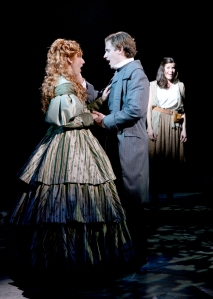 """Siri Howard (Cosette), Blake Stadnik (Marius), and Lizzie Klemperer (Eponine) perform """"A Heart Full of Love"""" in North shore Music Theatre's production of LES MISÉRABLES playing October 28 thru November 16. Photo by Paul Lyden"""