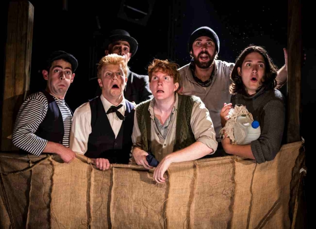 "Caption: Curtis Gillen, Matt Nuernberger, Arya Shahi,Ryan Melia, Ben Ferguson, Dan Weschler in the PigPen Theatre Co.'s ""The Old Man and the Old Sea."" Photo: Liz Lauren"