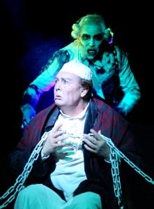 David Coffee (Ebenezer Scrooge) and Freddie Kimmel (Jacob Marley)in A CHRISTMAS CAROL at North Shore Music Theatre fromDecember 5 - December 21, 2014. Photo © Paul Lyden.