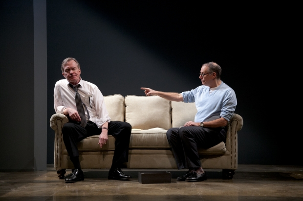 "Michael Canavan and Bill Kux in ""The Best Brothers,"" by Daniel MacIvor, directed by Charles Towers. Running at Merrimack Repertory Theatre January 8 - February 1, 2015. Photo by Meghan Moore."