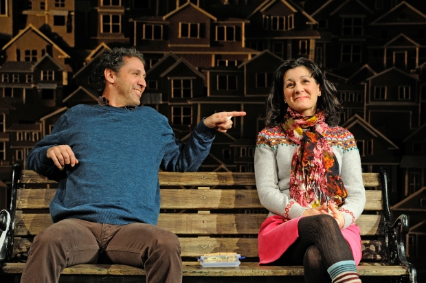 Mauro Hantman as John Dodge and Angela Brazil as Mrs. Swanson in Will Eno's Middletown at Trinity Rep. Directed by Curt Columbus, set design by Deb O, costume design by Alison Carrier and lighting design by Josh Epstein. Through February 22, 2015. Photo Mark Turek.