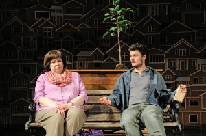 Janice Duclos as Librarian and Lee Osorio as Mechanic in Will Eno's Middletown at Trinity Rep. Photo Mark Turek.