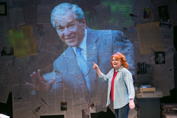 """Karen MacDonald as Molly Ivins points to a projection former President George W. Bush in """"Red Hot Patriot: The Kick-Ass Wit of Molly Ivins."""" Photo: Mark S. Howard."""