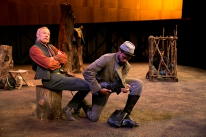 """Ken Marks and Benton Greene in a scene from """" Part 2: A Battle in the Wilderness"""" in """"Father Comes Home From The Wars, Parts 1, 2 and 3,  at the American Repertory Theatre. Photo: Evgenia Eliseeva"""