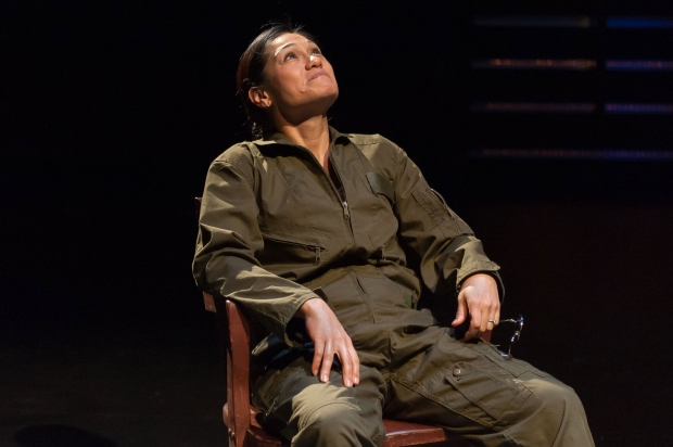 "Celeste Oliva as The Pilot in the Nora Theatre production of ""Grounded."" Photo: A.R. Sinclair Photography"