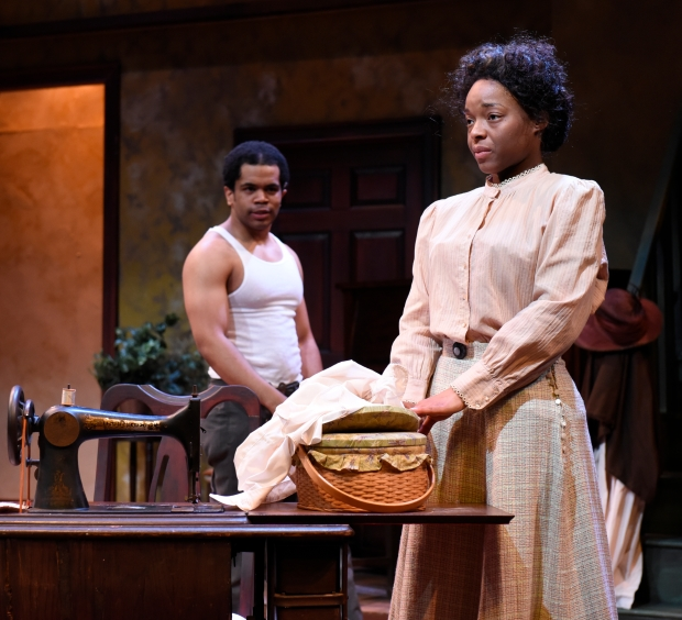 """Brandon G. Green as George and Lindsey McWhorter as Esther in """"Intimate Apparel.""""  Photo: Glenn Perry"""