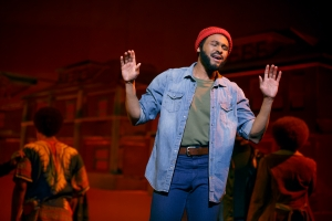 "Jarran Muse as Marvin Gaye in ""Motown: The Musical."" Photo copyright 2014 Joan Marcus"