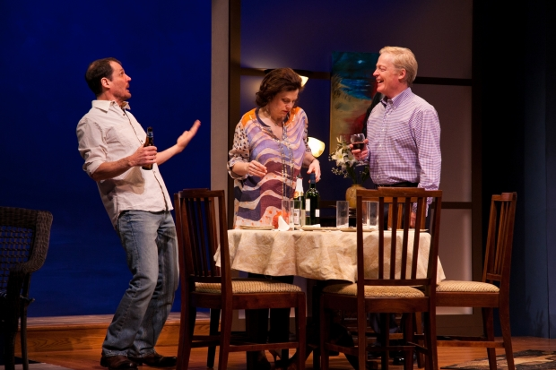 "Joey Collins, Carolyn Baeumler, and Allyn Burrows in a scene from ""Oceanside.""  Photo by Meghan Moore."