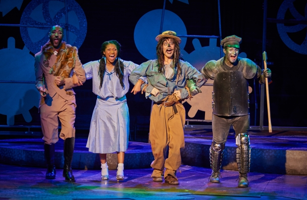 "(Left to right) Damien Norfleet as ""Lion,"" Quiana Holmes as ""Dorothy"", Carl-Michael Ogle as ""Scarecrow"" and Justin Raymond Reeves as ""Tin Man"" Courtesy of Fiddlehead Theatre Company/©mattmckeephoto.com"