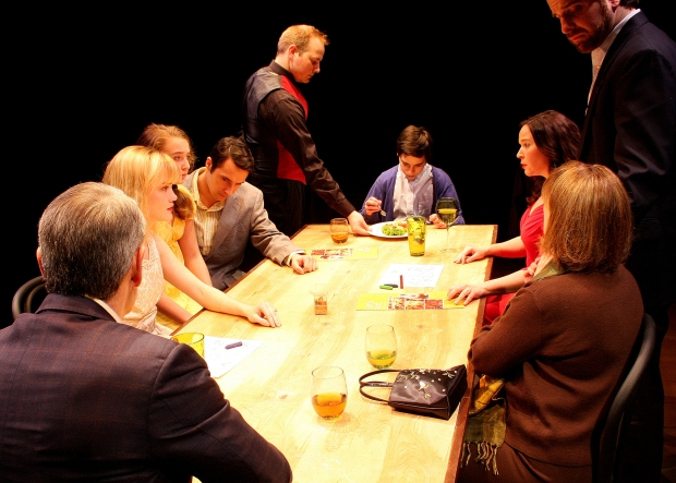 """(L to R): Peter Brown, Ashley Risteen,Arianna Reith, Johnny Quinones, Josh Clary, Alec Shiman, Becca A. Lewis, Devon Scalisi and Shelley Brown in Zeitgeist Stage Company's production of """"The Big Meal.""""(Photo by Richard Hall/Silverline Images.)"""