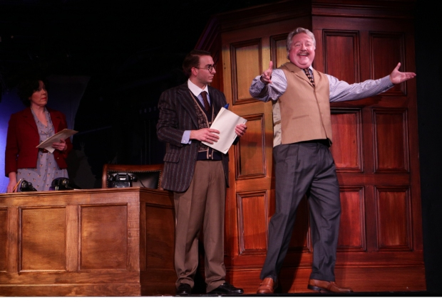 "Leigh Barrett, Phil Tayler, and J.T. Turner in Lyric Stage Company's ""City of Angels."" Photo by Mark S, Howard"