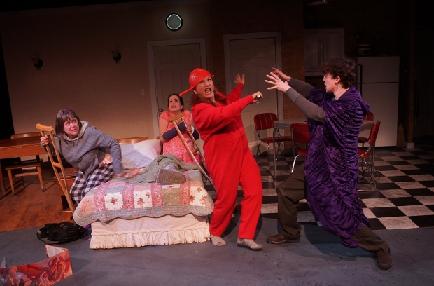 "Kimberly (Sheriden Thomas), Pattie (Micah Greene), Debra (Shana Dirik), and Jeff (Lucas Cardona) in ""Kimberly Akimbo."" photo by Sharman Altshuler"