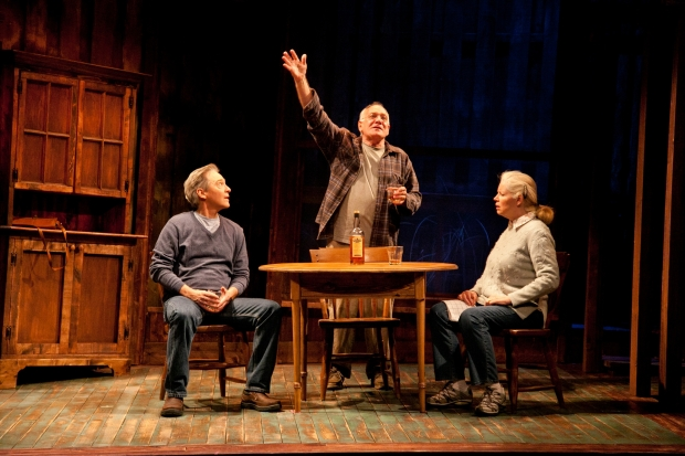 "David Adkins, Ross Bickell, and Felicity LaFortune in Merrimack Repertory Theatre's ""The Outgoing Tide."" Photo by Meghan Moore."