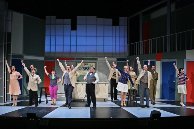 "Cast members performing ""The Company Way"" in Stoneham Theatre's production of HOW TOSUCCEED… Photo credit: Mark S. Howard"