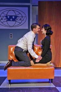 "Tyler Bradley Indyck* (J. Pierrepont Finch) and Ephie Aardema* (Rosemary Pilkington) performing ""I Believe in You"" in Stoneham Theatre's production of HOW TO SUCCEED… Photo credit: Mark S. Howard."