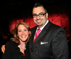 North Shore Music Theatre Publicist Julie Arvedon Knowlton and Director of Marketing and Communications Mike Ceceri, right, enjoy a moment at the annual Elliot Norton Awards.