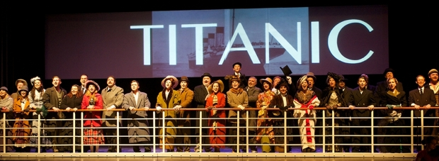 "The company performs ""Godspeed Titanic"" in the Woodland Theatre Company's ""Titanic"" Frank Hoek Photography"