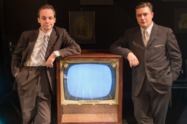 "Chris Larson as Philo Farnsworth and Michael Fisher as David Sarnoff in ""The Farnsworth Invention."" Photo: Lindsay Eagle, Flat Earth Theatre"