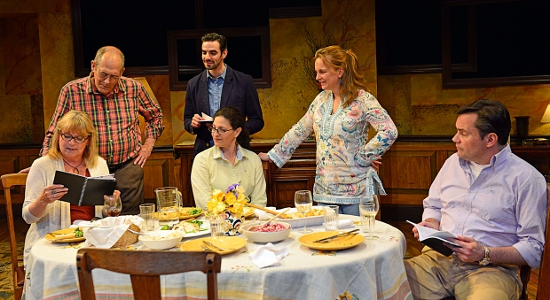 "Karen MacDonald as Barbara Apple; Joel Colodner as Benjamin Apple; Paul Melendy as Tim Andrews; Sarah Newhouse as Marian Apple Platt; Laura Latreille as Jane Apple Halls; Bill Mootos as Richard Apple in ""Sweet and Sad."" Photo: Gary NG"