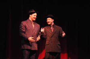 "Daniel Forest Sullivan (left) and Aaron Dore perform ""Brush Up Your Shakespeare"". Herb Philpott, Reagle Music Theatre"