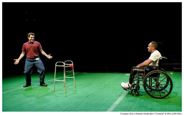 "Greg Maraio (Jerry) and Marlon Shepard (Mike) in a scene from ""Colossal."" (Photo by Liza Voll)"