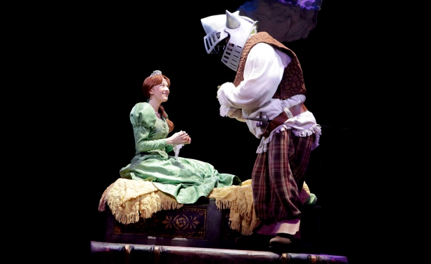 Lauren Wiley (Princess Fiona) and Lukas Poost (Shrek) in SHREK THE MUSICAL playing a North Shore Music Theatre from July 7 - July 19, 2015. Photo © Paul Lyden
