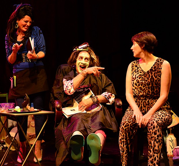 """Jennifer Ellis, Richard Snee and Amanda Collins in Gloucester Stage's """"Out of Sterno. """" Photo: Gary Ng"""