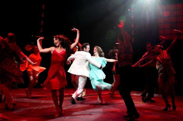 Sam Wolf (Tony Manero) Tessa Grady (Stephanie Mangano) and the cast of SATURDAY NIGHT FEVER The Musical playing at North Shore Music Theatre August 11 - 23, 2015. Photo © Paul Lyden