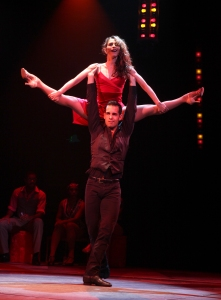 Andrés Acosta (Caesar) and Michelle Marmolejo (Maria) in SATURDAY NIGHT FEVER The Musical playing at North Shore Music Theatre August 11 - 23, 2015. Photo © Paul Lyden