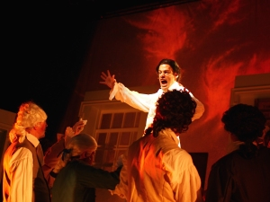 "Andrew Giordano sings ""Molasses to Rum"" in ""1776."" Photo: Zoe Bradford"