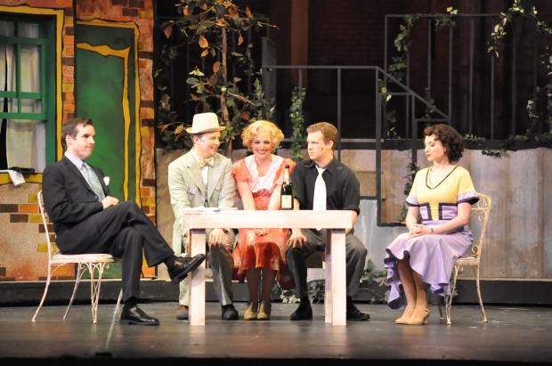 "Kevin Cirone (left) as Baker, Dan Prior as Frank, Jennifer Ellis as Eileen, Doug Gerber as Chick Clark, and Katie Anne Clark as Ruth in ""Wonderful Town."". Herb Philpott/Reagle Music Theatre"