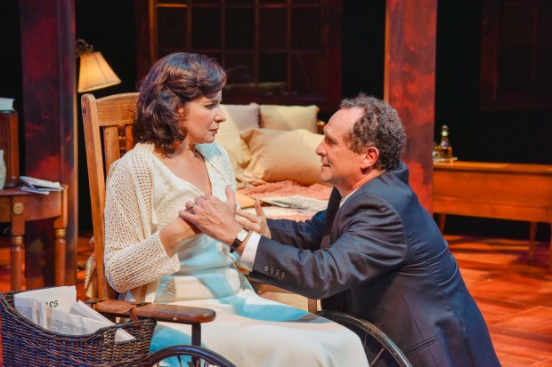 "Anne Gottlieb and Jeremiah Kissel in the New Repertory Theatre's production of Arthur Miller's ""Broken Glass."" Andrew Brilliant/ Brilliant pictures"