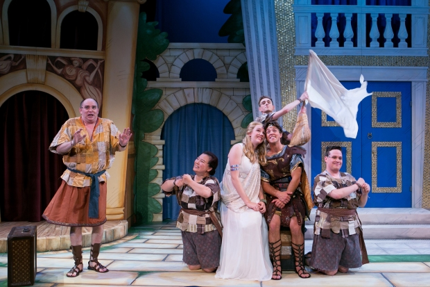 "From the left: Neil A. Casey, Jenna Lea Scott, Devin Bean, Nicholas Davis, Jordan Ahnquist, and Angelo McDonough in ""A Funny Thing Happened on the Way to the Forum."" Photo: Mark S. Howard"