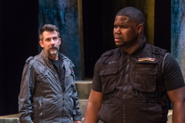 "John Knyz as Iago and Johnnie McQuarley as Othello in ""Othello."" Photo: Stratton McGrady Photography"