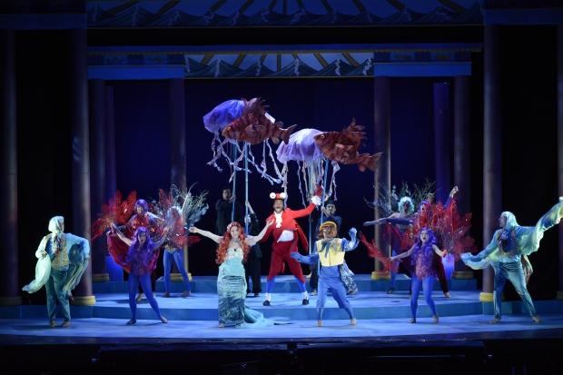 "Jay Kelley as Sebastian (center) and ensemble performing  ""Under the Sea."" Courtesy Fiddlehead Theatre Company/©Eric Antoniou"