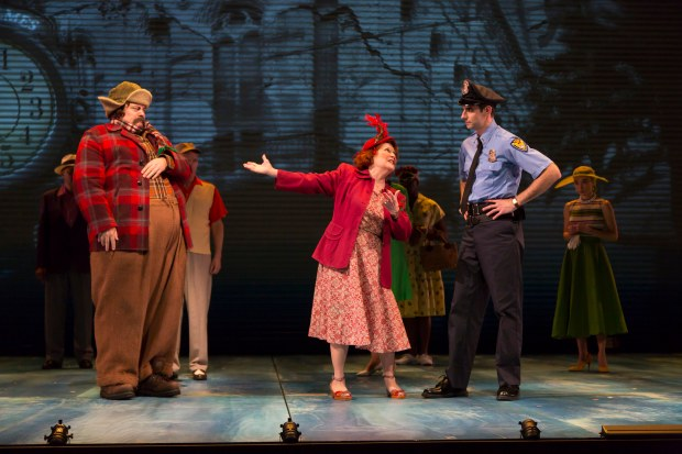 Nick Offerman as Ignatius J. Reilly, Anita Gillette as Irene Reilly, and Paul Melendy as Patrolman Mancuso in A Confederacy of Dunces at the Huntington Theatre Company, by Jeffrey Hatcher, based on the Pulitzer Prize-winning novel by John Kennedy Toole, directed by David Esbjornson, playing November 11 – December 20, Avenue of the Arts/BU Theatre. Photo: T. Charles Erickson.