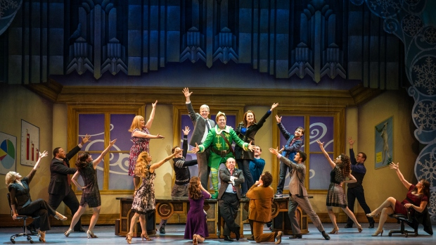 "The Company in a scene from ""Elf"" at the Citi Wang Theatre. . Photo by Amy Boyle"