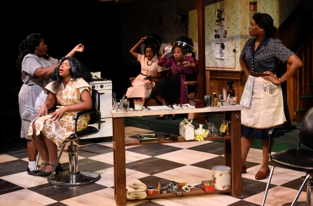 "Meagan Dilworth, Cloteal L Horne, Jackie Davis, Ramona Lisa Alexander, and Jasmine Rush in ""Saturday Night, Sunday Morning."" Photo: Glenn Perry"
