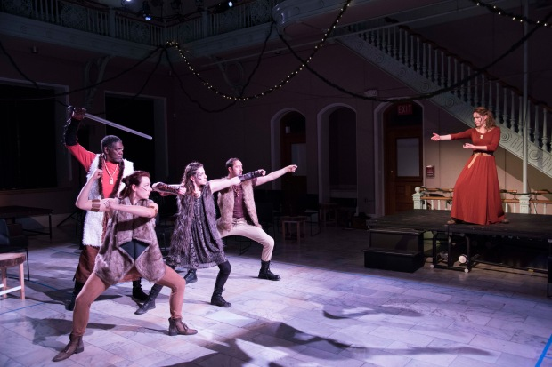 "Johnny Lee Davenport, Rachel Wiese, Rebecca Lehrhoff, Jesse Garlick, Amanda Gann in The Poets' Theatre production of ""Beowulf."" Photo: Andrew Brilliant Brilliant Pictures"