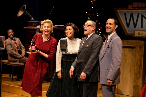 "Jason Bowen, Veronika Duerr, Celeste Oliva, Joel Colodner, and Nael Nacer in ""It's a Wonderful Life: A Live Radio Play."" Photo by Meghan Moore."