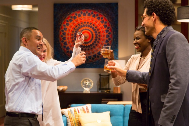 Rajesh Bose as Amir, Nicole Lowrance as Emily, Shirine Babb as Jory, and Benim Foster as Isaac in Disgraced. Disgraced plays from January 8 – February 7, 2016, Avenue of the Arts / BU Theatre. Photo by T. Charles Erickson.