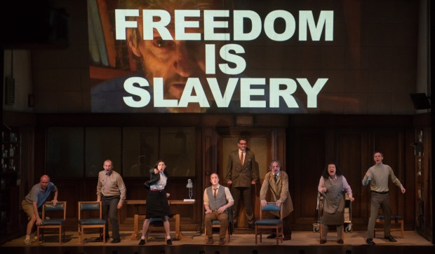 The cast of  '1984,' now at the Loeb Drama Center. Photo: Ben Gibbs