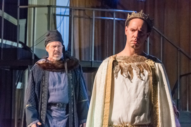 "The Duke of York (Robert Walsh) and Richard II (Doug Lockwood)  in ""Richard II."" Photo by Stratton McCrady"