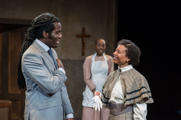 "Equiano Mosieri, Adobuere Ebiama, & Nehassaiu deGannes in ""The Convert."" Photo: A.R. Sinclair Photography."