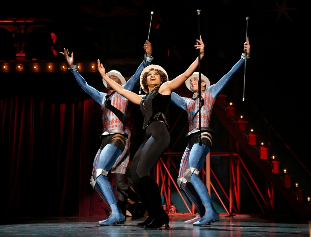 "Borris York, Gabrielle McClinton and Matthew deGuzman in ""Pippin."" Photo: Joan Marcus."